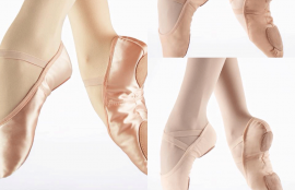 Pink split sole ballet shoes in Satin, Leather & Canvas.