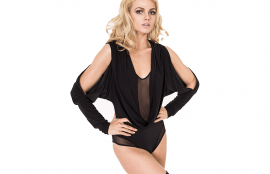 Dincewear Split Sleeve Hooded Bodysuit